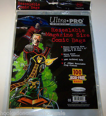 """1 Pack of 100 Ultra Pro 8 3/4"""" Magazine Comic Book Storage Bags RESEALABLE"""