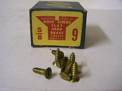 "#9 x 5/8"" Flat Head Brass Wood Screws Solid Brass Slotted Made in USA Qty. 144"