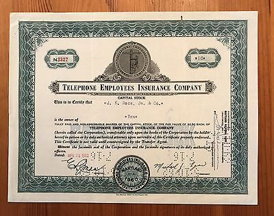 1962 Telephone Employees Insurance Company Stock Certificate Md