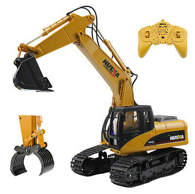 2 in 1 Die Cast RC Excavator Digger Truck with Extra Claw Timber Grab 2.4GHz Toy