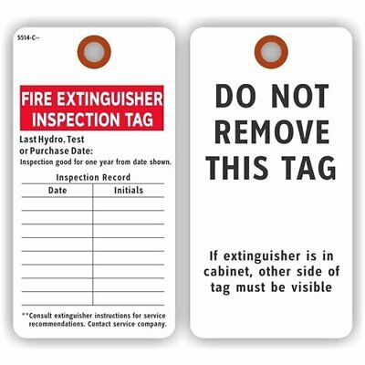 "Fire Extinguisher Inspection Tag, Colored 13pt Cardstock, 25Tags / Pack, 3"" x"