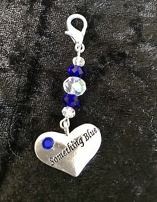 Something Blue Silver Heart Garter/Bouquet Crystal Beads Charm