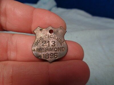 Antique 1896 **dog License**  Dog Tax Dog Tag  Token Indiana