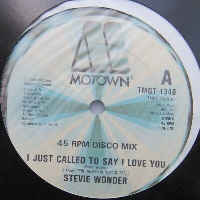 """STEVIE WONDER - I Just Called To Say I Love You - Ex 12"""" Single Motown TMGT 1349"""