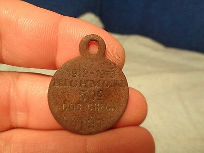 Antique 1912 **dog License**  Dog Tax Dog Tag  Token Indiana