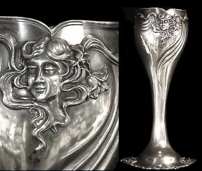 Tall Antique Art Nouveau Whiplash Woman Poppies Derby Silver Plated Trophy Vase