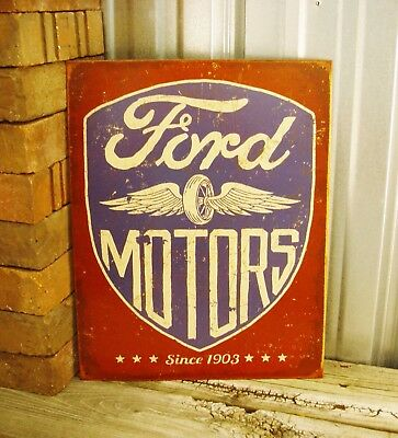 Ford Motors Since 1903 Red Blue Metal Tin Sign Logo Garage Man Cave Wheel Wings