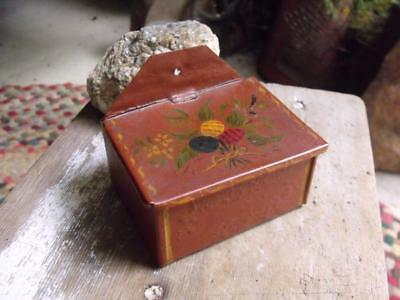 Small Primitive Antique Hand Painted Tin Toleware Wall Mount Match Holder Safe