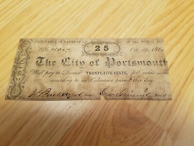 25 Cents October 29, 1862 City of Portsmouth Virginia Note Civil War #15207