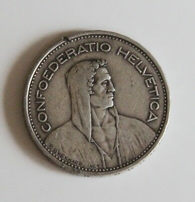 1932 Swiss 5 Francs Silver Coin