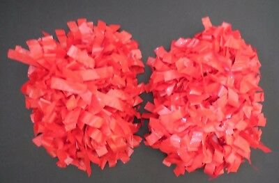 """NEW Adult Poms 3/4"""" 6"""" Length SOLID Red BATON Handle Cheer Cheerleading"""