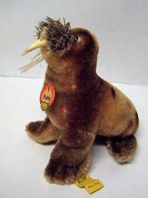 Vintage STEIFF PADDY The WALRUS w/ Original Paper Name Tag, Flag & Button