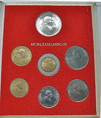 1982 Vatican POPE JOHN PAUL II silver mint set coins in official red cardboard