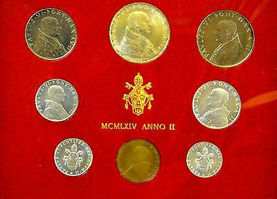 1964 VATICAN POPE PAUL THE SIXTH SILVER MINT SET COINS n OFFICIAL RED CARDBOARD