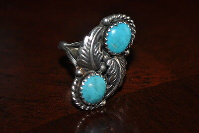 Sterling Silver and Turquoise Ring Navajo Artist Signed - RB Size 5 Womens