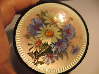 Magnificent Large Antique 935 Sterling Guilloche Enamel Dresser Box W/flowers-Nr