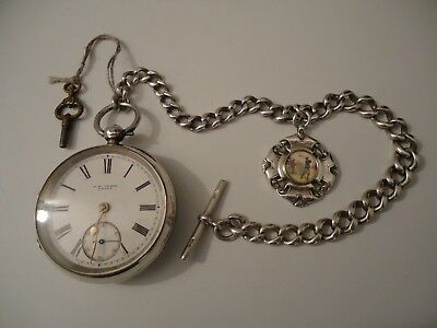 Antique Victorian Silver Watch/Golf Fob Medal both 1898 on Silver Chain 1893.