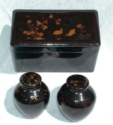SUPERB 19th C JAPANESE BLACK LACQUERED TEA CADDY WITH TWIN OVOID CANISTERS