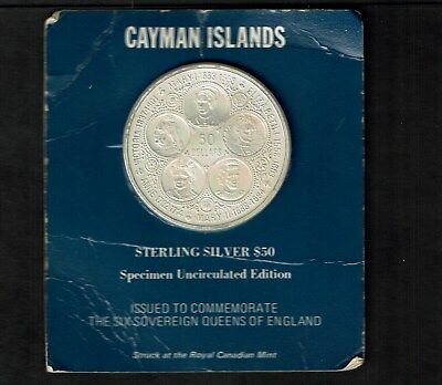 Cayman Islands $50 Dollars 2 Ounce Silver 1975 Ch Bu In Holder 5 Queens