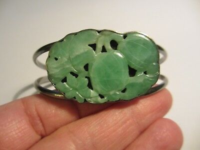 Beautiful Vintage Sterling Chinese Carved Jade Cuff Bracelet-Stunning Color-Nr