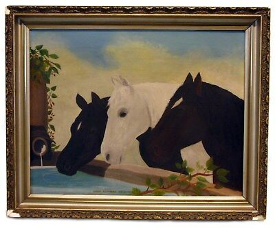 Antique Victorian Folk Art Oil Canvas Painting Horses at Well Temperance Society