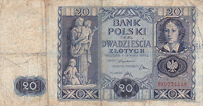 20 Zlotych Fine- Banknote From Poland 1936!pick-77!!