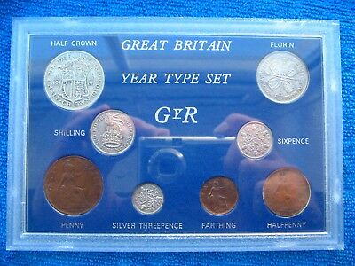 *RARE* 1930 GB TYPE SET OF 8 COINS SOME SILVER 87th BIRTHDAY GIFT FREE UK POST