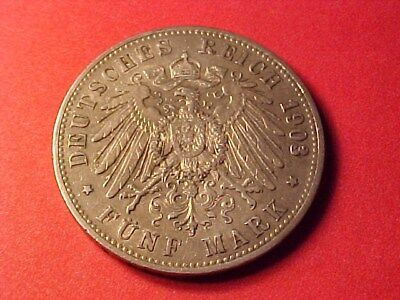 German States Prussia 5 Marks Silver Crown 1903-A Kaiser Wilhelm