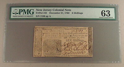 1763 New Jersey 6 Shillings Colonial Note PMG Choice Uncirculated 63