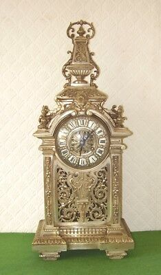 ANTIQUE CLOCK LARGE IMPRESSIVE SILVER PLATED ON BRONZE ROCOCO FRENCH circa 1890