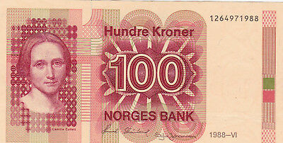 100 Kroner Aunc Banknote From Norway 1988!pick-43