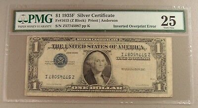 1935F Fr. 1615 $1 Silver Certificate Inverted Overprint Error PMG Very Fine 25