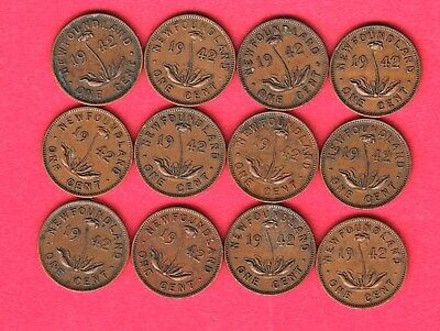 1942 Newfoundland Small Cents ~ Dealer Lot Of 12 ~ VG/F Condition