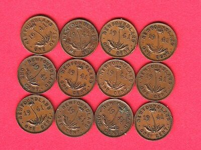 1941c Newfoundland Small Cents ~ Dealer Lot Of 12 ~ VG/F Condition