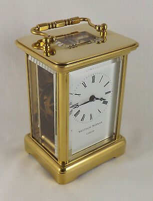 Swiss Matthew Norman Swiss 8 Day Brass Carriage Clock - Cleaned And Serviced