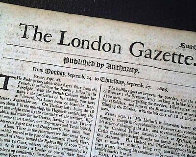 Very Early & Rare 17th Century 1666 London UK Newspaper w/ GREAT PLAGUE Report