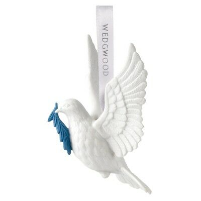 Wedgwood Figural Dove of Peace White Porcelain Christmas Ornament Decoration New