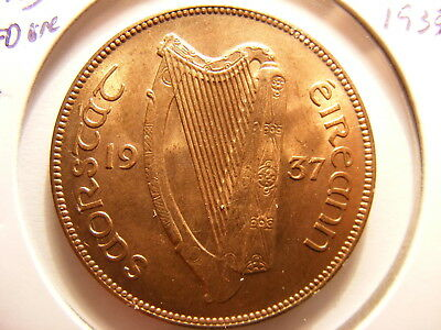 Ireland Republic Penny, 1937, FULL RED UNCIRCULATED