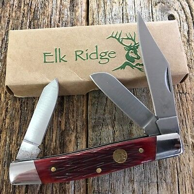 ELK RIDGE REG JIGGED BONE GENTLEMAN'S 3 Blade Folding Pocket Knife ER-043RB -W
