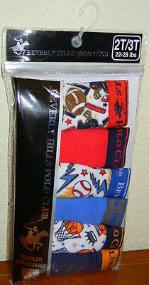 New Beverly Hills Polo Club Sports Blue 6 Pk Toddler Boys Briefs Underwear 2T 3T
