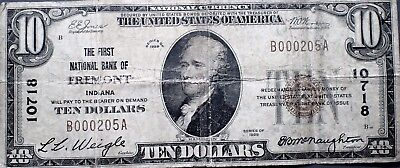 1929 $10 DOLLAR BILL NATIONAL CURRENCY FREMONT IN First National Bank RARE A2755