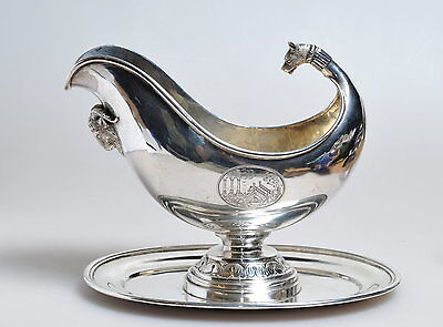 Antique German 19th century Sterling Silver : Sauce Boat