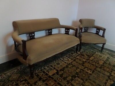 Antique Edwardian Sofa & Arm Chair (local delivery possible)