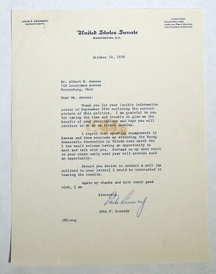 M730. Vintage JOHN F KENNEDY US Senate Signed Letter to Constituent (1959) [
