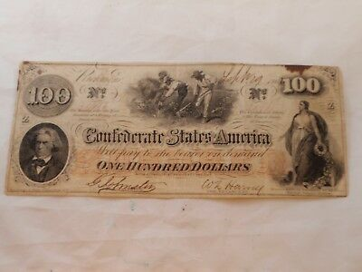 1862 $100 One Hundred Dollars Confederate Richmond Currency Note **NR*
