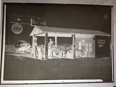 vintage PHOTO NEGATIVE 1920'S GULF GAS STATION IN GRAND PRAIRIE TX 4X5