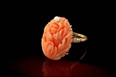 Victorian Carved Pink Coral Rose Great Detail Pearl 14K Gold Antique Ring A43