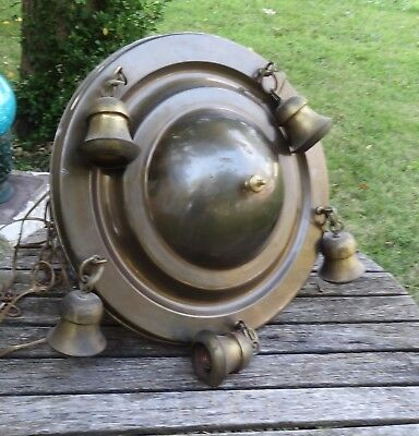 "Antique Brass Light Fixture - Large - 18 1/4"" Diameter - Old Architectural"