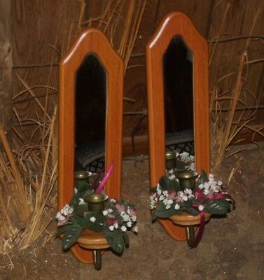 Vtg Homco Home Interiors Wood Wall Sconces With Mirror Taper Candle Holder Set 2