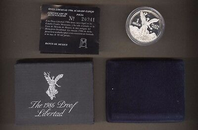 1986 Mexico Proof One Ounce Silver Libertad Coin